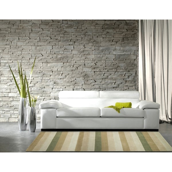 Hand-tufted Green Stripes Wool Rug (8' x 10') - 8' x 10'