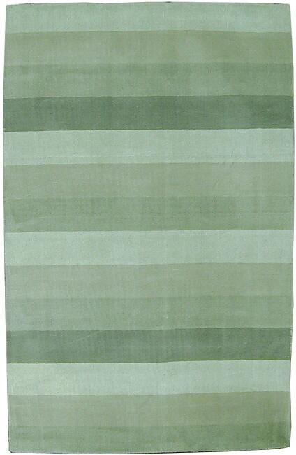 Hand Tufted Green Stripes Wool Rug 8 X 10 Free