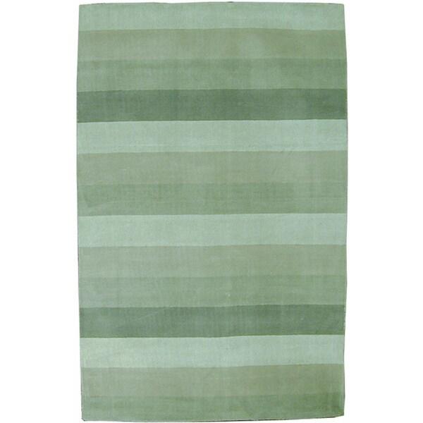 Hand-tufted Green Stripes Wool Rug - 8' x 10'