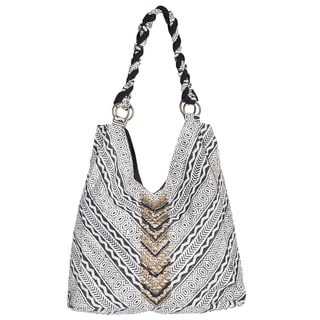Scully Black and White'V' Shape Ccotton Handbag