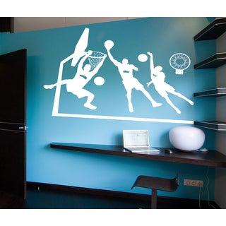 Basketball game Wall Art Sticker Decal White