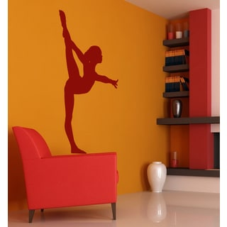 Girl Gymnast Wall Art Sticker Decal Red
