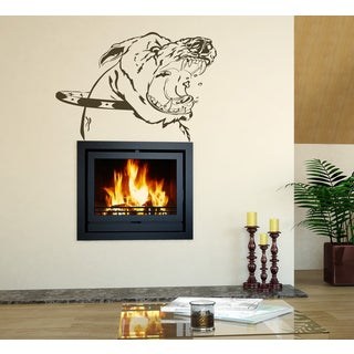 Angry dog Wall Art Sticker Decal Brown
