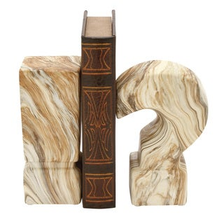 Ceramic Marble Finish Bookend Pair 3-inch x 8-inch
