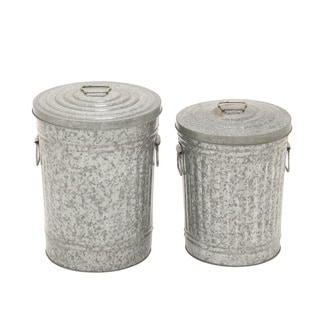 Metal Galvanized Trash Can (Set of 2) 15-inch/ 17-inch