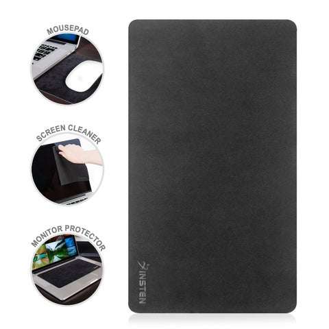Insten Black Rubber Microfiber 3-in-1 Multifunctional Washable Mouse Pad/ Screen Cleaner/ Monitor Protector