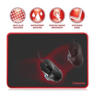 Insten Black/ Red Large Professional Waterproof Coating Rubber Gaming Mouse Pad