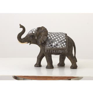 Handmade Jeweled Elephant Sculpture Rain Tree Wooden Brass