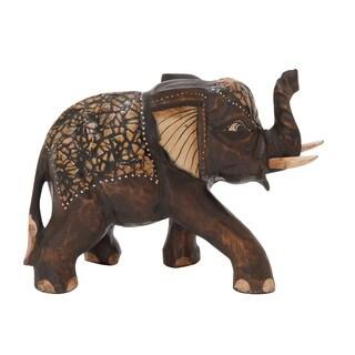 Wood Elephant 12-inch x 8-inch