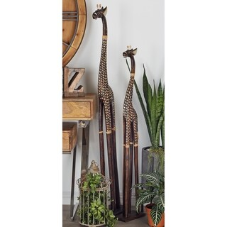 Eclectic 48 x 8 Inch Wooden Giraffe Sculpture by Studio 350