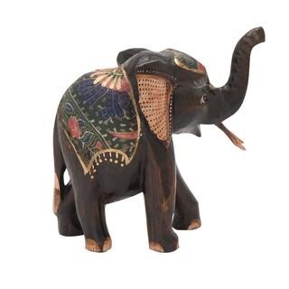 Wood Elephant 11-inch x 10-inch