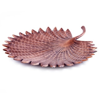 """Tribal"" Antique Copper Finish Aluminum Leaf Serving Tray"