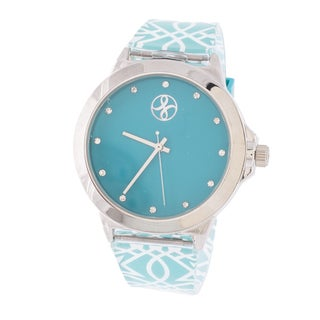 Fortune NYC Ladies Silvertone Case with Blue Dial / Blue Rubber Strap Watch