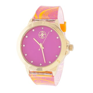 Fortune NYC Ladies Goldtone Case with Pink Dial / Pink & Orange Rubber Strap Watch