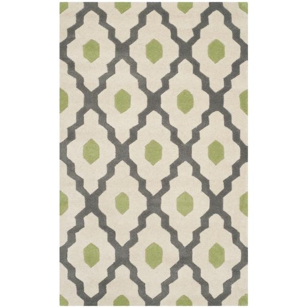 Safavieh Handmade Chatham Dark Grey/ Ivory Wool Rug (3' x 5')