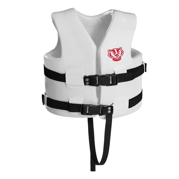 Texas Rec USCG Approved Child Water Vest White Finish Wisconsin Badgers