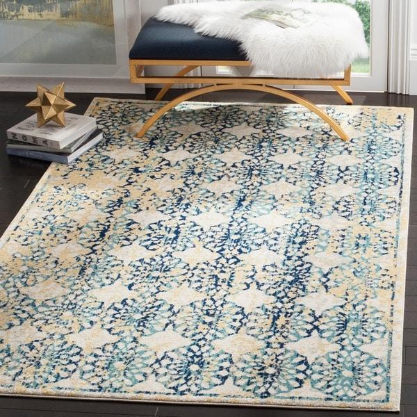 Safavieh Evoke Vintage Floral Ivory / Blue Distressed Rug (4' x 6')