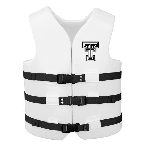 Texas Rec USCG Approved Adult Water Vest White Finish Texas Tech