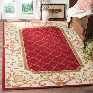 Safavieh Hand-hooked Easy to Care Burgundy/ Ivory Rug - 4' x 6'