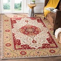 Safavieh Hand-hooked Easy to Care Cream/ Red Rug - 4' x 6'