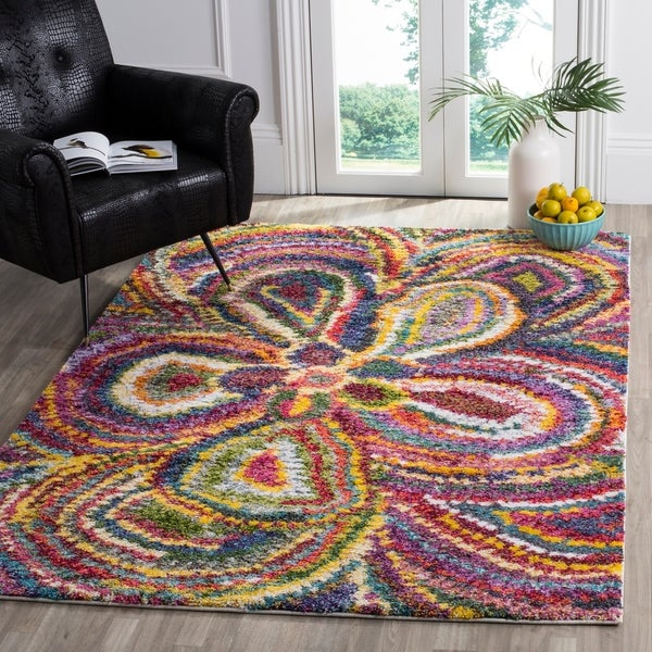 Safavieh Fiesta Shag Abstract Floral Multicolored Rug - multi - 4' x 6'