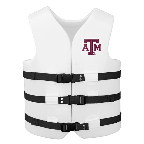 Texas Rec USCG Approved Adult Water Vest White Finish Texas A&M