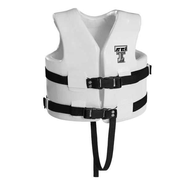 Texas Rec USCG Approved Child Water Vest White Finish Texas Tech