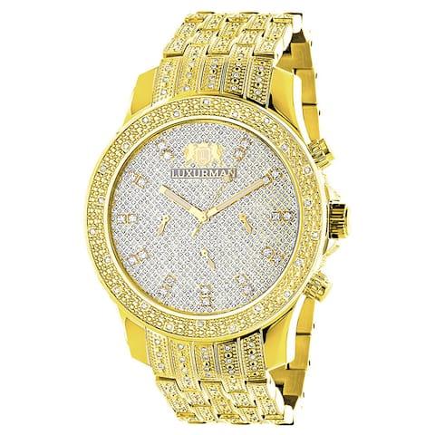 Luxurman Men's Yellow Goldplated Stainless Steel 1ct TDW Diamond Watch