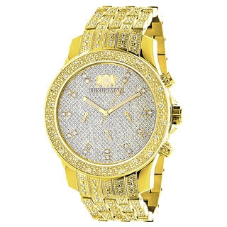 Luxurman Men's Yellow Goldplated Stainless Steel 1ct TDW Diamond Watch