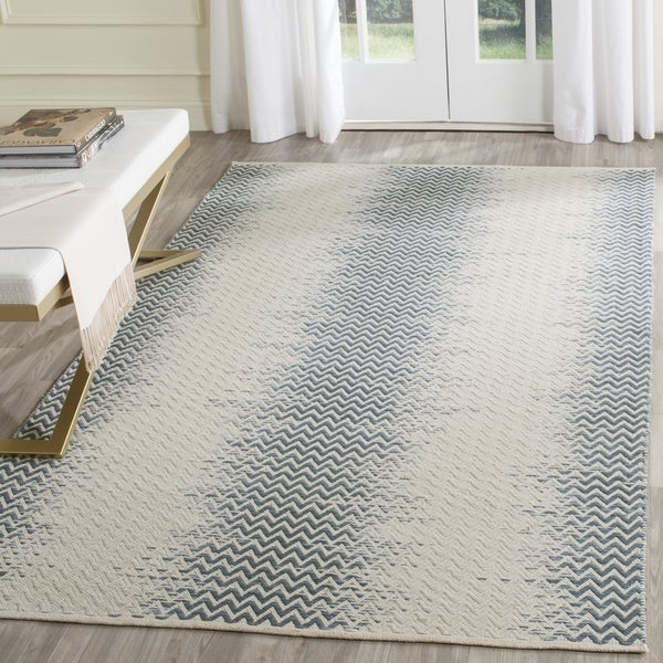 Safavieh Hand-Woven Cotton Kilim Blue/ Ivory Cotton Rug (4' x 6')