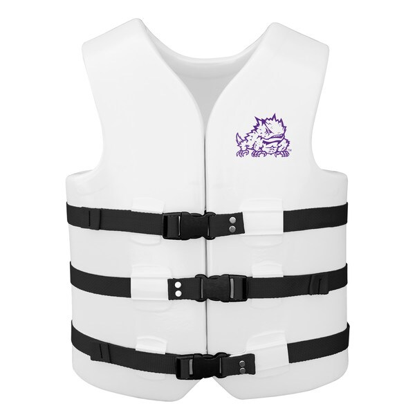 Texas Rec USCG Approved Adult Water Vest White Finish TCU Horned Frog