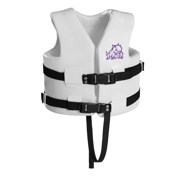 Texas Rec USCG Approved Child Water Vest White Finish TCU Horned Frog