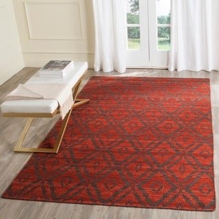 Safavieh Hand-Woven Kilim Rust/ Grey Wool Rug (4' x 6')