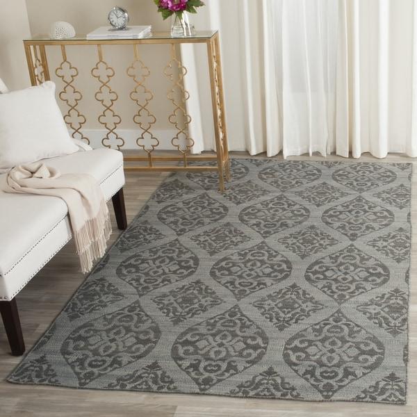 Safavieh Hand-Woven Kilim Grey/ Dark Grey Wool Rug (4' x 6')