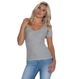 Beam Women's Grey V-neck T-shirt