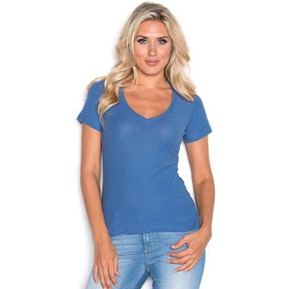 Beam Women's V-neck T-shirt Medium Blue