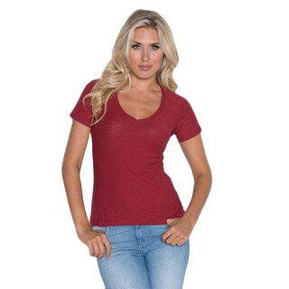 Beam Women's Wine V-neck T-Shirt
