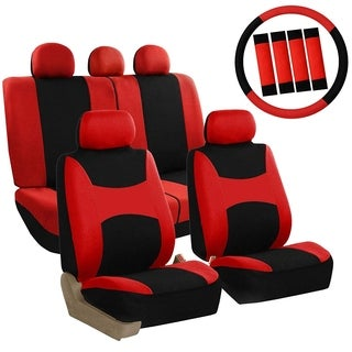 FH Group Red & Black Combo Pack Light & Breezy Fabric Auto Seat Covers (Full Set)