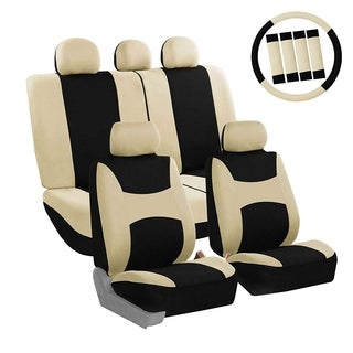 FH Group Beige & Black Combo Pack Light & Breezy Fabric Auto Seat Covers (Full Set)
