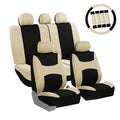 FH Group Beige and Black Combo Pack Fabric Auto Seat Covers (Full Set)