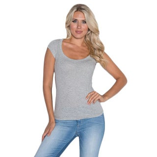 Beam Women's Grey Scoop Neck T-shirt