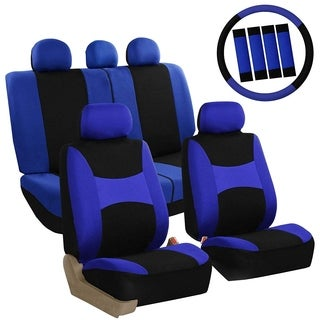 FH Group Blue & Black Combo Pack Light & Breezy Fabric Auto Seat Covers (Full Set)