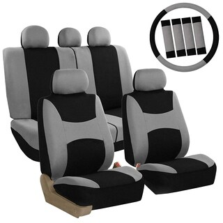FH Group Grey & Black Combo Pack Light & Breezy Fabric Auto Seat Covers (Full Set)