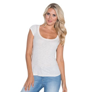 Beam Women's White Scoop Neck T-shirt