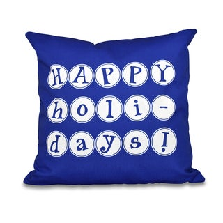Happy Holidays Word Print outdoor Pillow 18 x 18-inch Outdoor Pillow