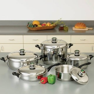 "HealthSmart 10 Piece 12-Element ""Waterless"" T304 Stainless Steel Cookware Set with Thermo Control Knobs"