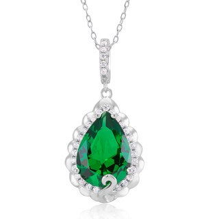 Sterling Silver Green Cubic Zirconia Pendant Necklace