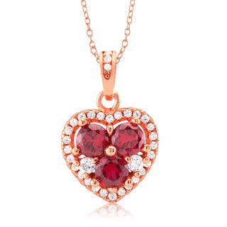 Goldplated Sterling Silver Red Cubic Zirconia Heart Necklace