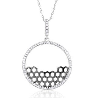Sterling Silver Cubic Zirconia Honeycomb Pendant Necklace