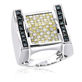 Luxurman 14k Gold 2 2/5ct TDW Men's White Blue Yellow Diamond Ring (SI1-SI2)